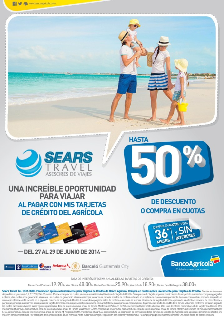 vacaciones SEARS TRAVEL hasta 50 OFF con banco agricola - 28jun14