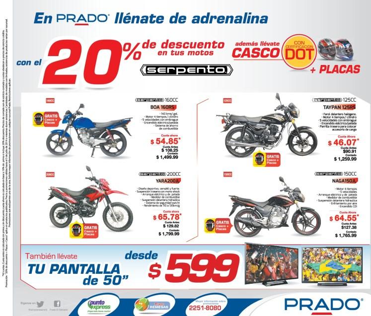Ofertas Motos 125 CC marca serpento solo en PRADO - 02jul14