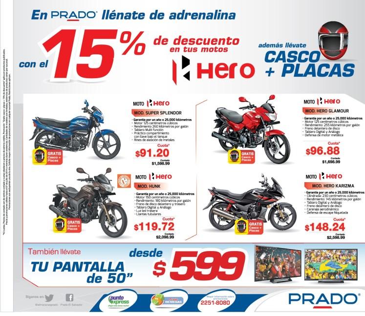 PRADO promocion Motos HERO casco mas placas - 04jul14