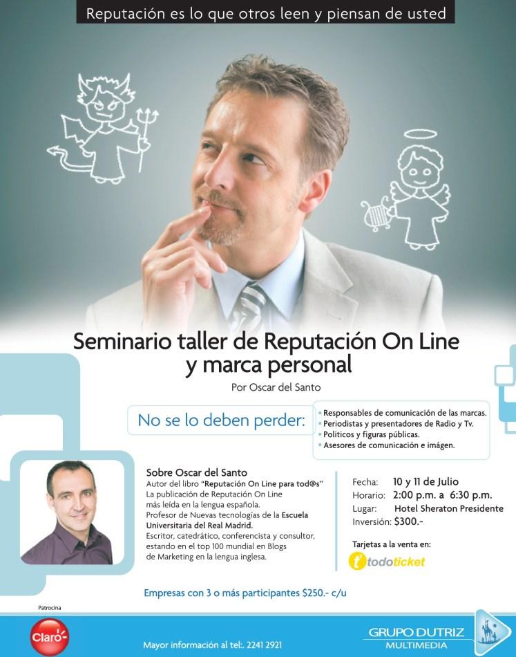 Seminario taller REPTACION ONLINE y marca personal por OSCAR del SANTO