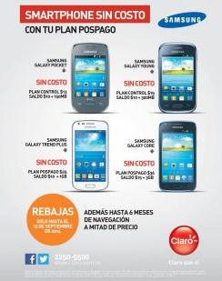 CLARO pomociones smartphones rebajados y sin costo - 05sep14