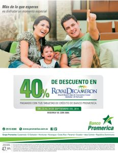 Descuento en hotel royal decameron BANCO PROMERICA - 22sep-14
