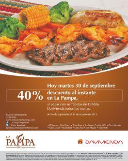 Hoy martes 40 OFF al instante en restaurante la PAMPA - 30sep14