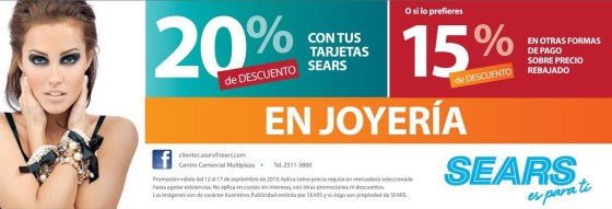Jewlery SEARS discounts - 13sep14