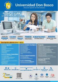 Ofertas academica Universidad DON BOSCO muchas especialidades - 24sep14