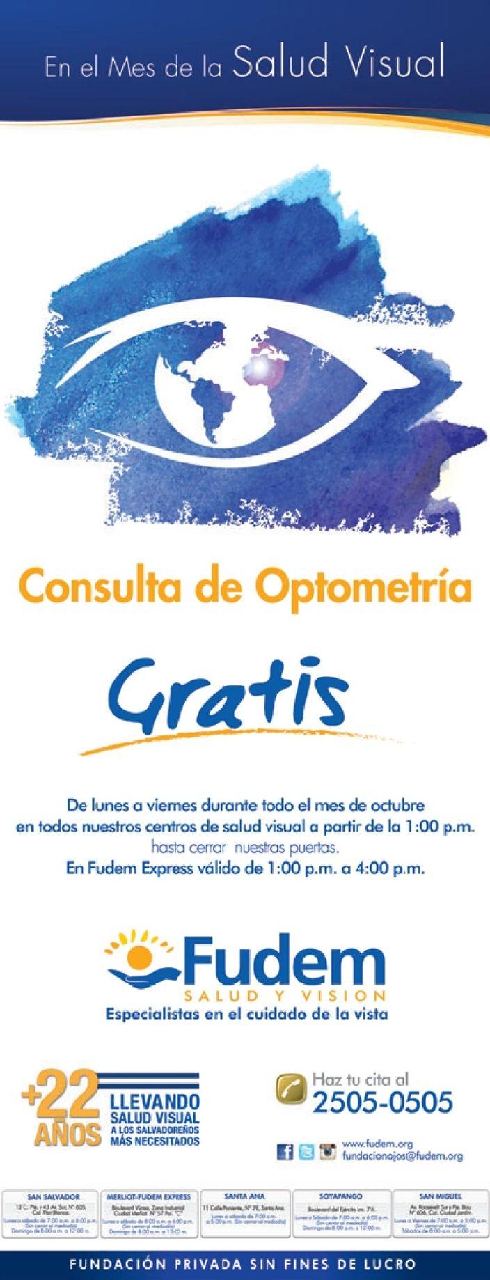 Consulta optometria GRATIS para tus ojos en FUDEM