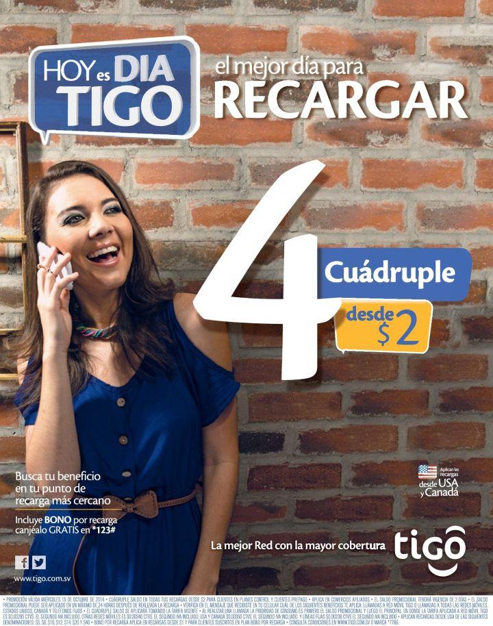 Promociones de recarga TIGO el salvador - 15oct14