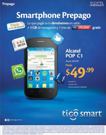 Smartphone baratos en TIGO alcatel POP C1 - 17oct14