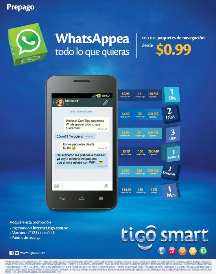 TIGO promociones para Whats APP desde 99 centavos - 16oct14