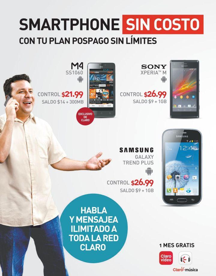 smartphone sin costo con CLARO ofertas - 17oct14