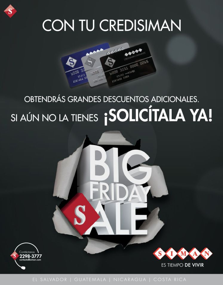Con tu CREDISIMAN descuento adicional BIG FRIDAY SALE - 24nov14