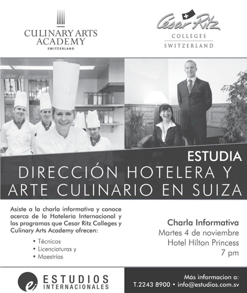 Estudios en SUIZA direccion hoteles y arte culinario - 04nov14