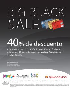 Jugueton BIG black sale discounts bebe mundo and park avenue - 27nov14