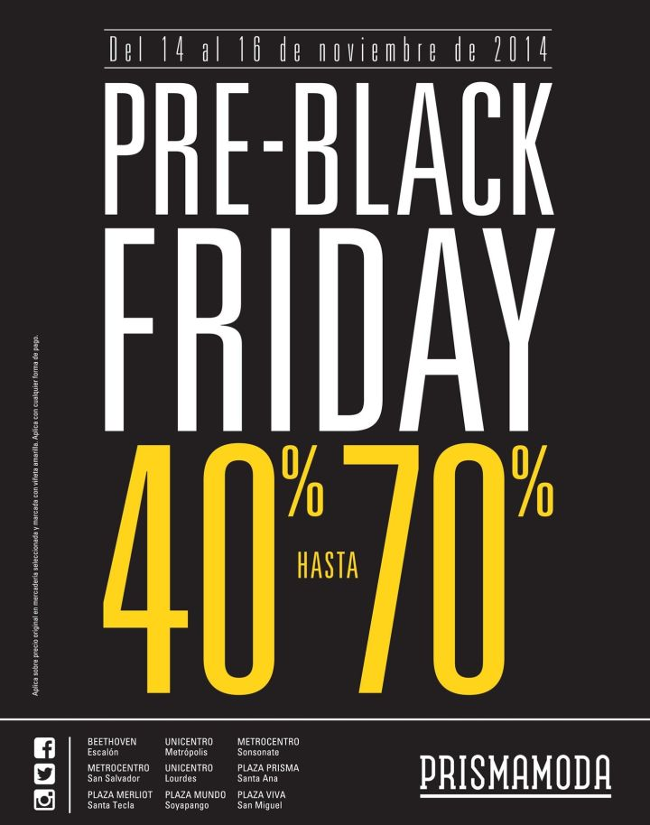 PRE Black Friday PRISMA MODA discounrs - 14nov14