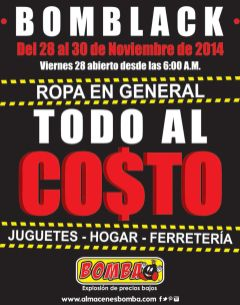 TODO al costo BOMBA BLACK sale - 28nov14