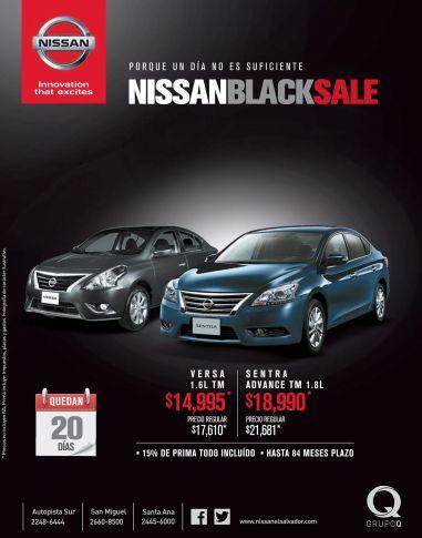 cars BLACK sale NISSAN versa and sentra - 10nov14