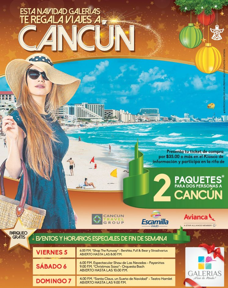 GALERIAS te regala viajes a CANCUN mexico
