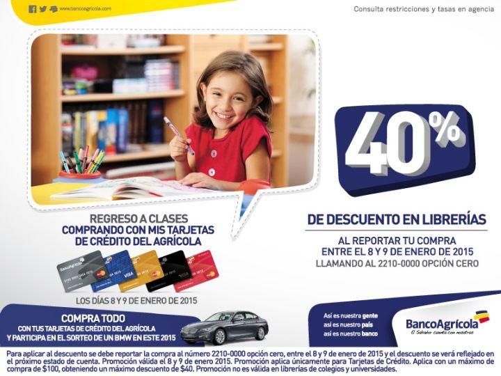 DESCUENTOS banco agricola Reporta tus compras en librerias - 08ene15