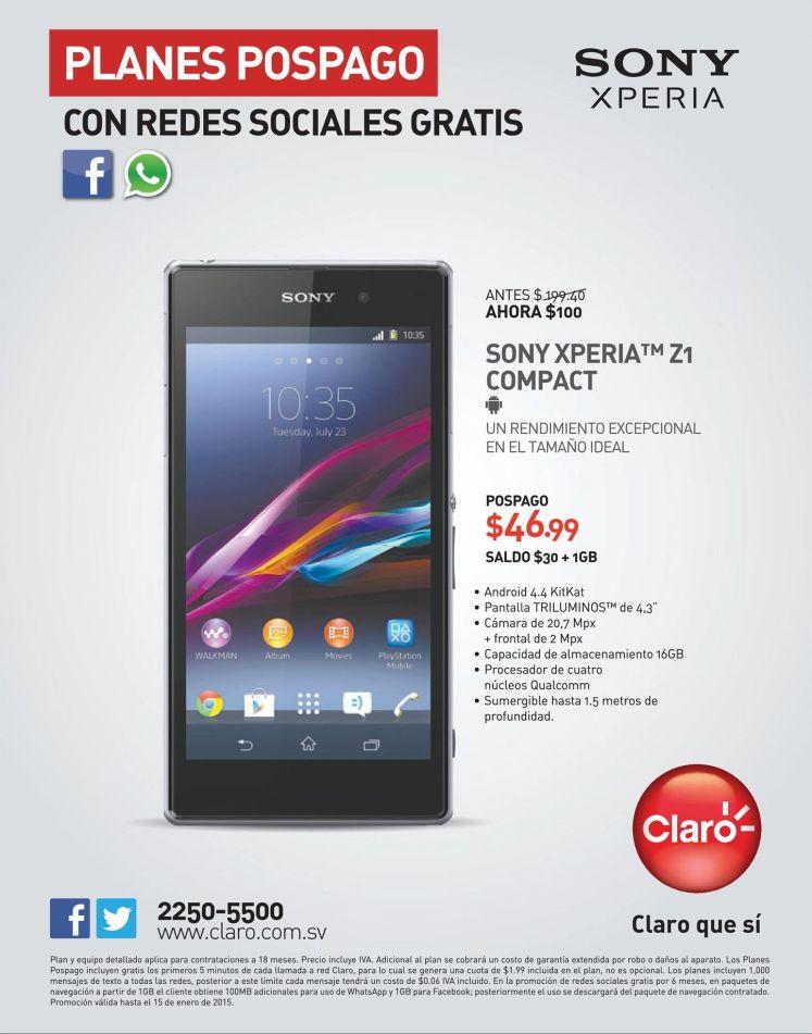 SONY xperia z1 compact CLARO promociones 2015