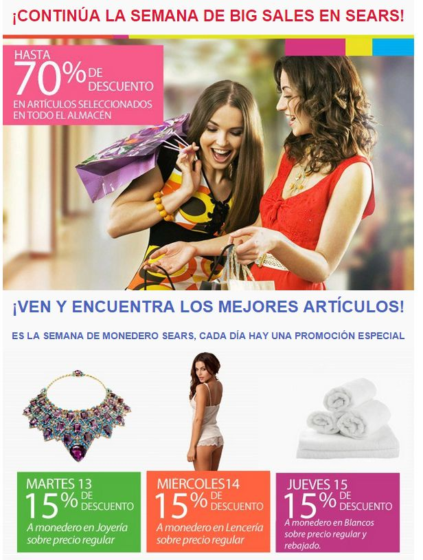 Semana BIG SALE sears promociones - 13ene15