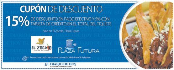 CUPON DE DESCUENTO en restaurante EL ZOCALO Plaza Futura - 12feb15
