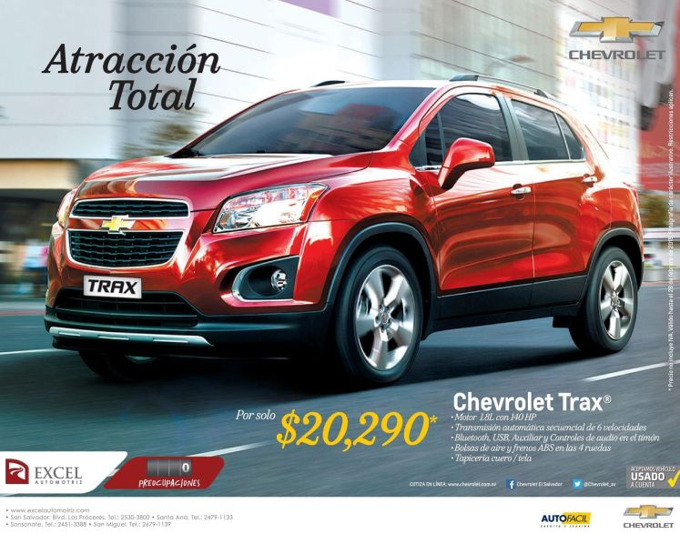 Chevrolet TRAX 2015 motor 1.8L con 140 horse power