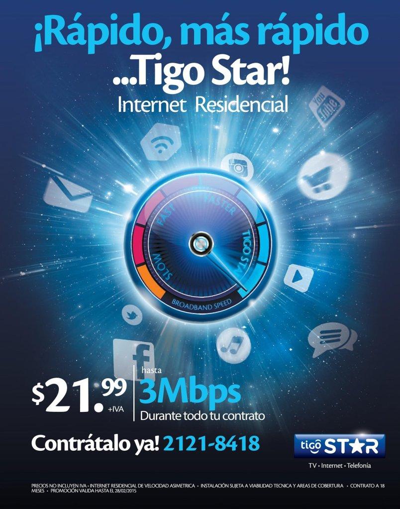 Mas rapido TIGO star internet residencial - 11feb15