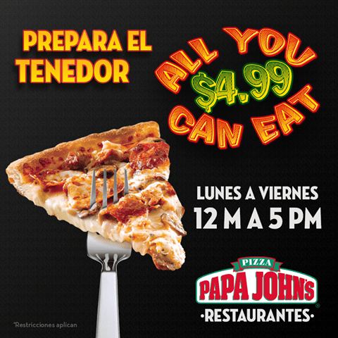 PAPA JOHNS pizza  all you can eat PROMO - 18feb15