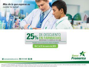 Descuentos en farmacias con tarjeta de credito BANCO PROMERICA marzo 2015