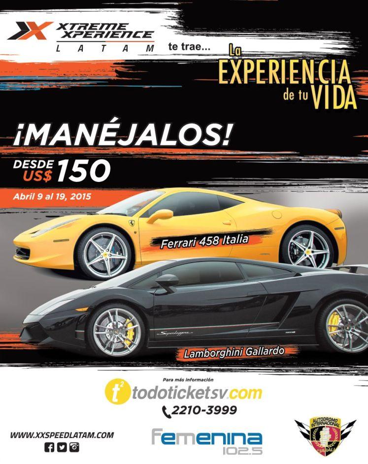 Driving Lamborghini or Ferrari cars extreme experience LATAM