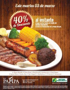 HOY 40 OFF restaurante la pampa con Sistema Fedecredito - 03mar15