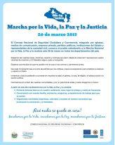 Informacion marcha por la vida la paz y la justicia EL SALVADOR 2015
