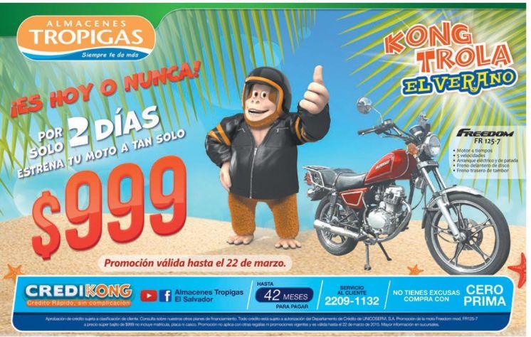 Motocicleta FREEDOM por 999 dolares en tropigas ganga - 21mar15