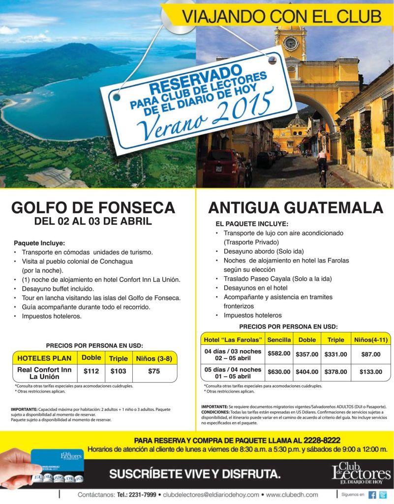 Paquetes turisticos VERANO 2015 golfo de fonseca y antigua guatemala