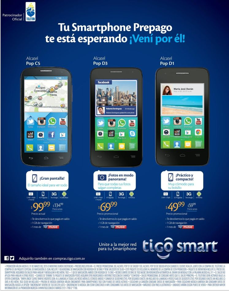 Precio promocional en smartphones de TIGO - 16mar15