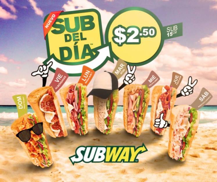 Promocion subway del dia por 2 dolares