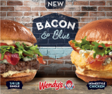 new BURGERS Wendys BACON and BLUE flavor