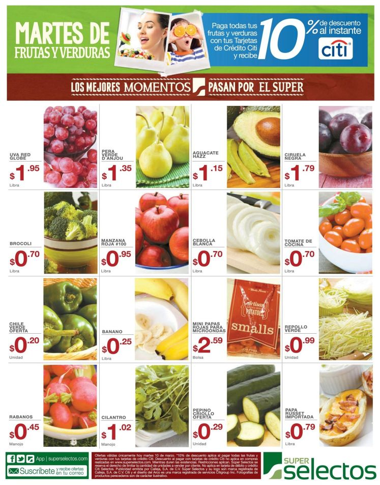 ofertas super selectos el salvador FRUTAS y verduras - 10mar15