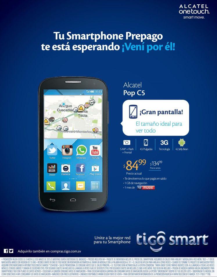 smartphone rebajado ALCATEL POP c5 de TIGO - 06mar15