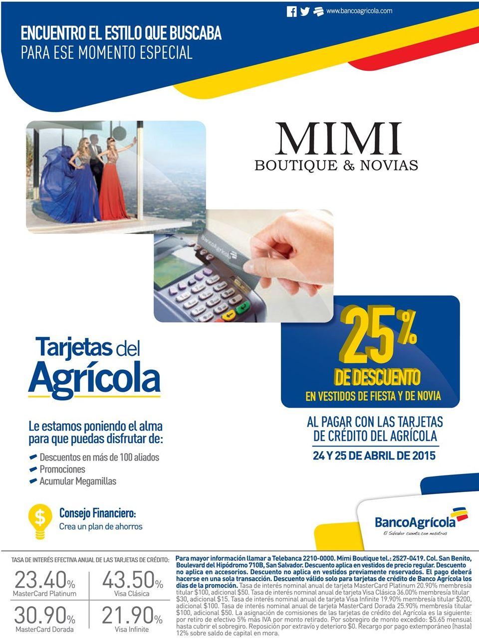 25 OFF en MIMI boutique apparel wedding con banco agricola - 24abr15