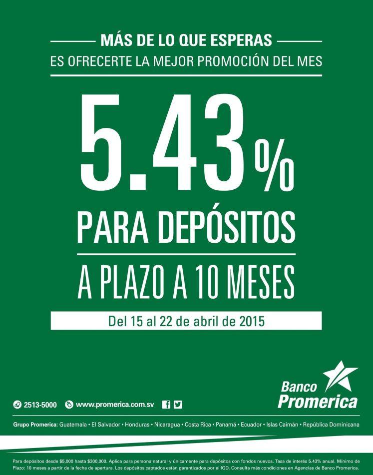 Deposito a plaza promocion del mes FOREX SERVICES banco promerica