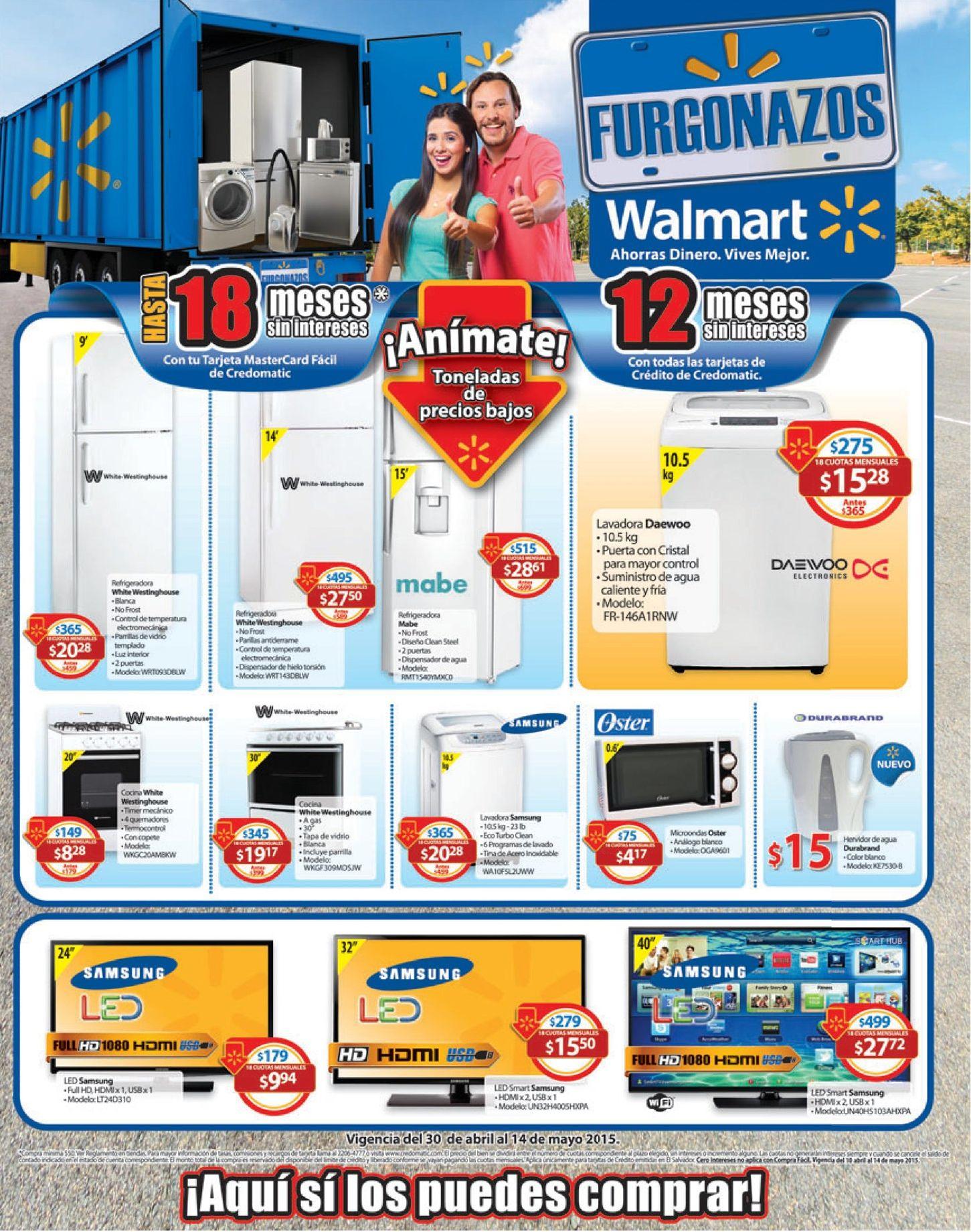 Electrodomesticos REBAJADOS con grandes descuentos en WALMART - 30abr15