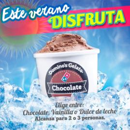 Este verano DOMINOS GELATO chocola vainilla o dulce de leche