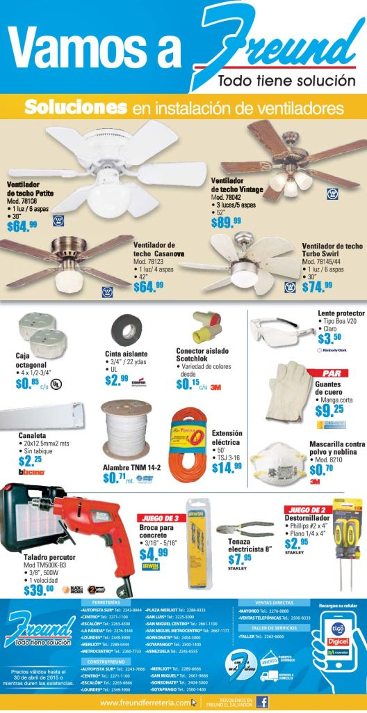FREUND ofertas y promoiones en instalaion electrica de ventiladores - 20abr15