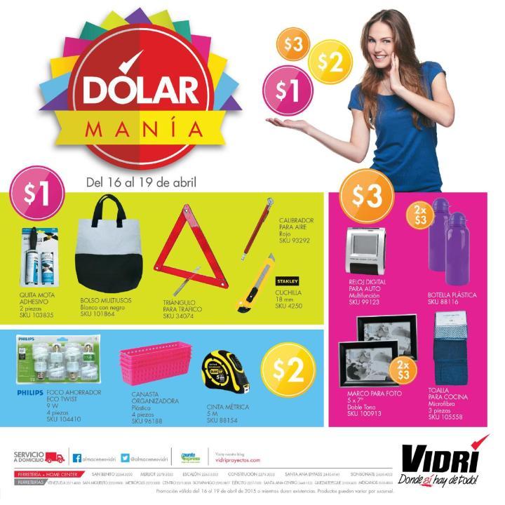 Ferreteria y Almacenes VIDRI presenta DOLARMANIA abril 2015