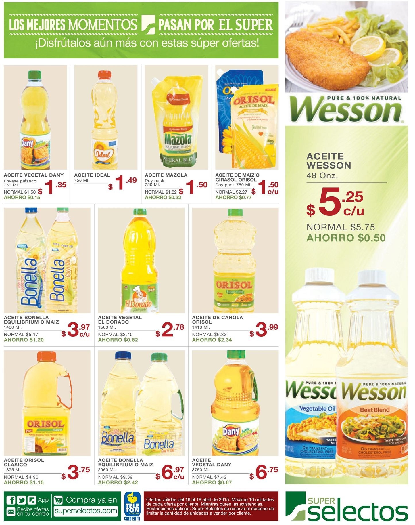 Oferta ACEITE Wesson pure and natural oil
