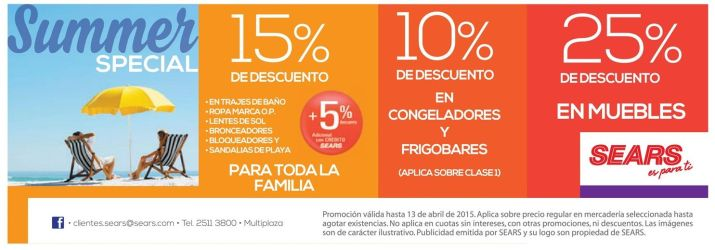 SUMMER especial disocunts ALMACENES SEARS
