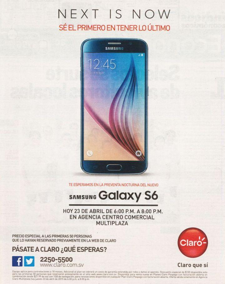 Se el primero con SAMSUNG GALAXY S6 gracias a CLARO multiplaza - 23abr15