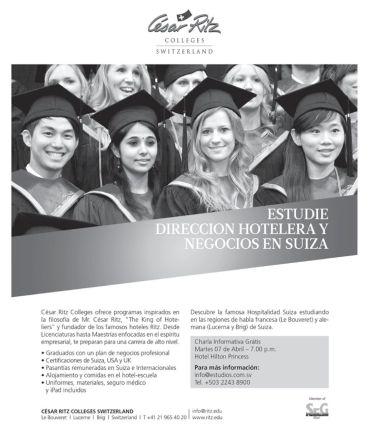 Te gustaria estudiar Direccion Hotelera y Negocios en SUIZA Cesar RITZ college switzerland