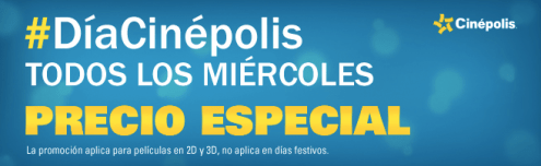 Todos los miercoles DIA CINEPOLIS precio especial